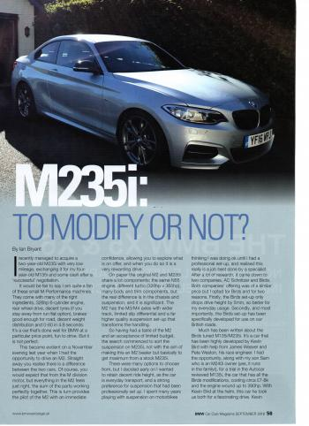 Editorial - F22 M235i - BMW Car Club 'M235i: To Modify or Not?' - Sept 2018