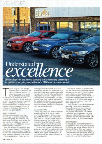 Editorial - Birds BMW Company Profile - BMWCar Magazine - August 2017